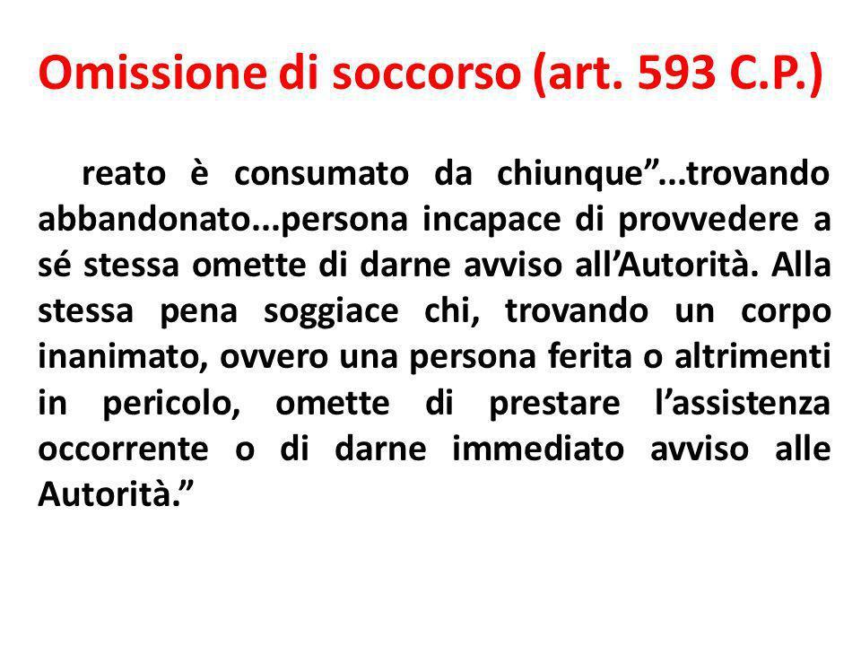 Omissione di soccorso (art. 593 C.P.) Il reato è consumato da chiunque...trovando abbandonato...persona incapace di provvedere a sé stessa omette di d