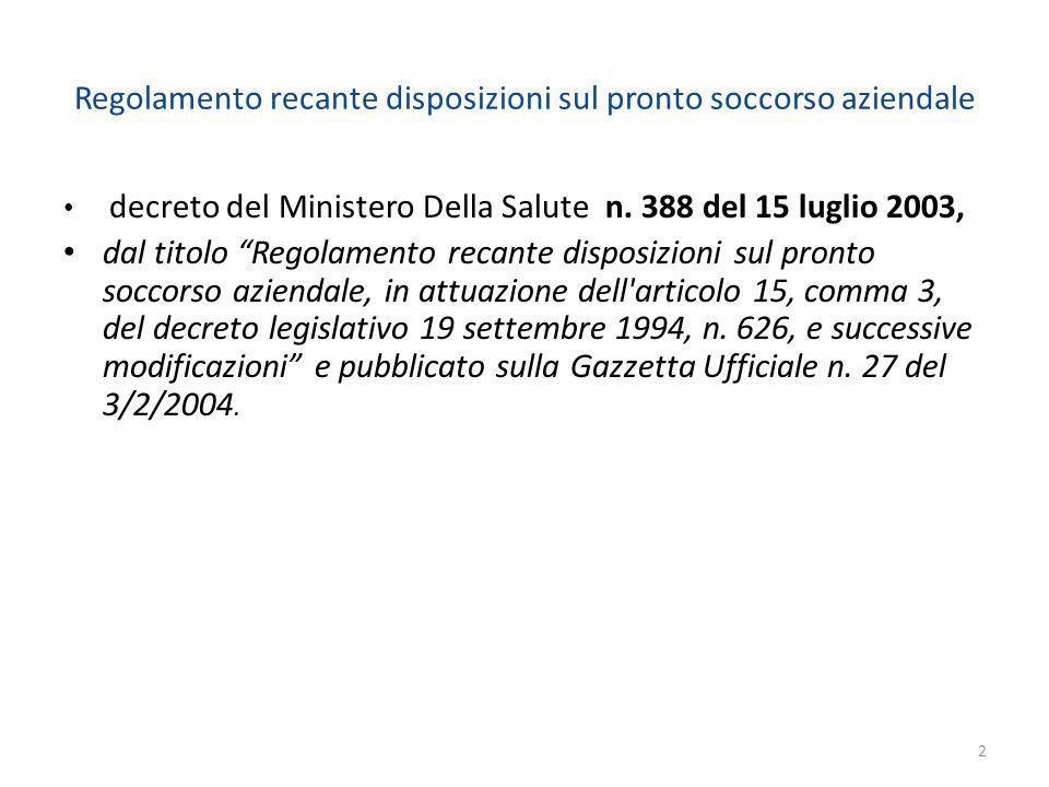 Regolamento recante disposizioni sul pronto soccorso aziendale decreto del Ministero Della Salute n. 388 del 15 luglio 2003, dal titolo Regolamento re