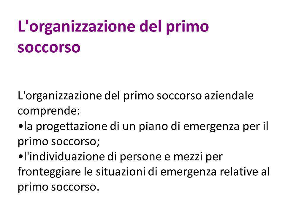 L'organizzazione del primo soccorso L'organizzazione del primo soccorso aziendale comprende: la progettazione di un piano di emergenza per il primo so