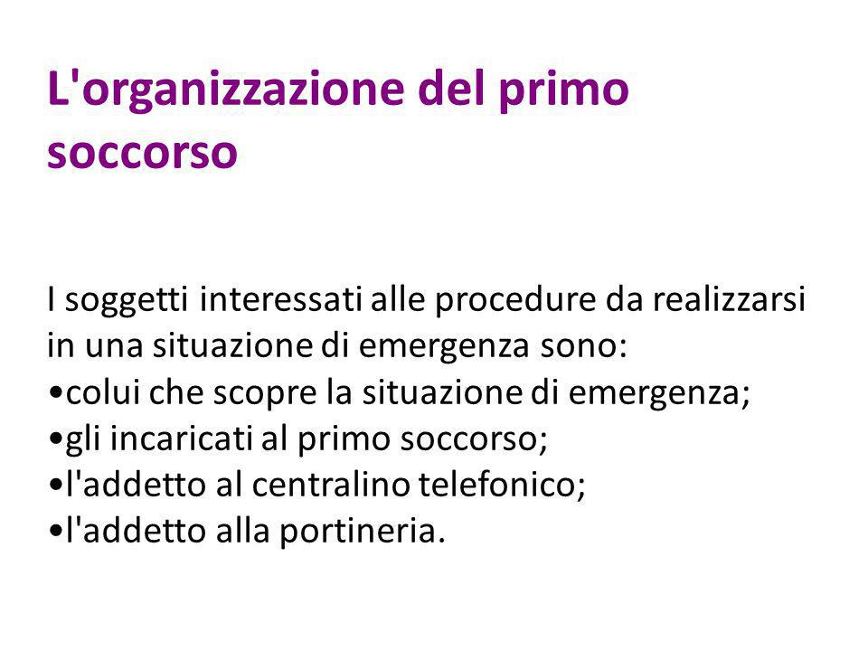L'organizzazione del primo soccorso I soggetti interessati alle procedure da realizzarsi in una situazione di emergenza sono: colui che scopre la situ