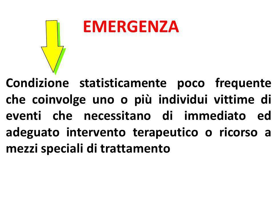 EMERGENZA Condizione statisticamente poco frequente che coinvolge uno o più individui vittime di eventi che necessitano di immediato ed adeguato inter