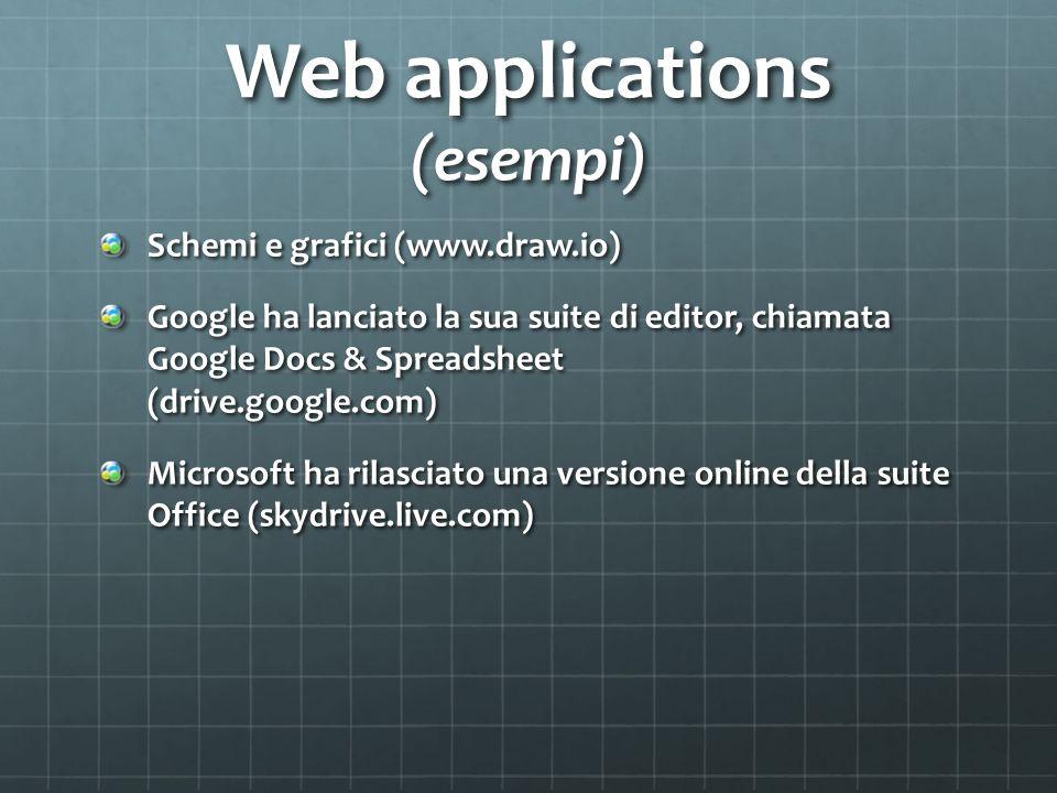 Web applications (esempi) Schemi e grafici (www.draw.io) Google ha lanciato la sua suite di editor, chiamata Google Docs & Spreadsheet (drive.google.com) Microsoft ha rilasciato una versione online della suite Office (skydrive.live.com)