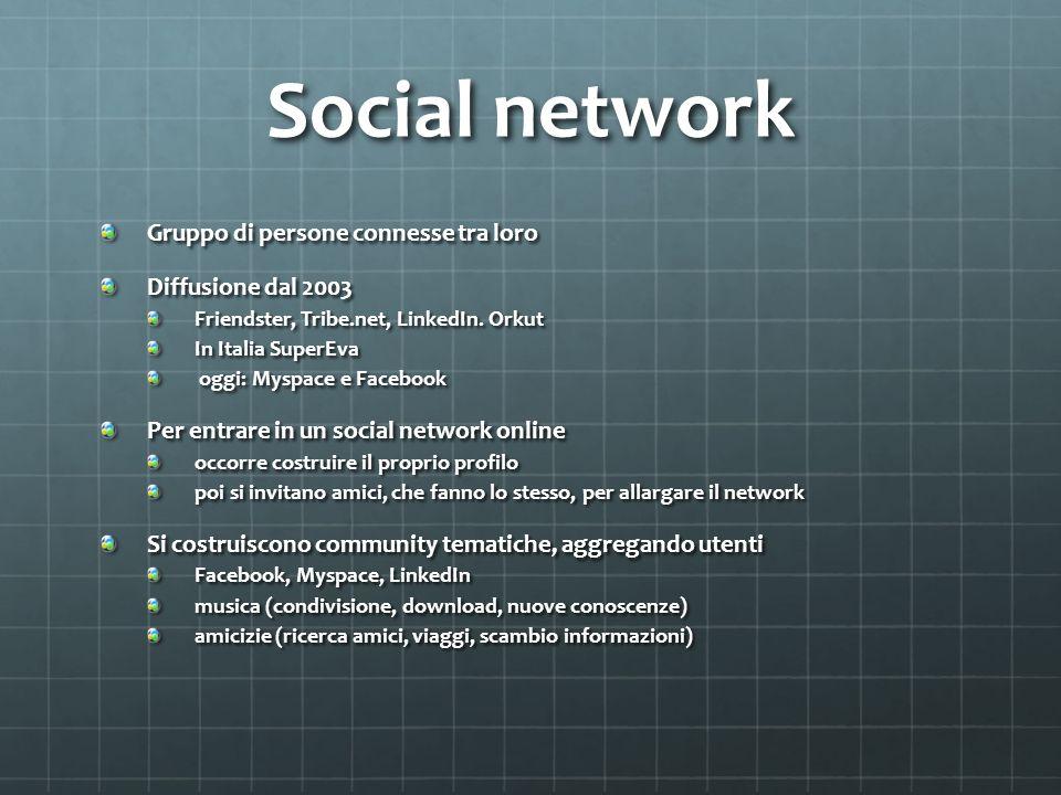 Social network Gruppo di persone connesse tra loro Diffusione dal 2003 Friendster, Tribe.net, LinkedIn.