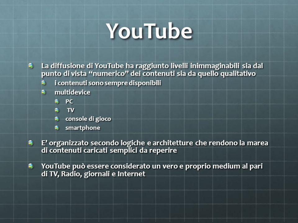 YouTube La diffusione di YouTube ha raggiunto livelli inimmaginabili sia dal punto di vista numerico dei contenuti sia da quello qualitativo i contenu