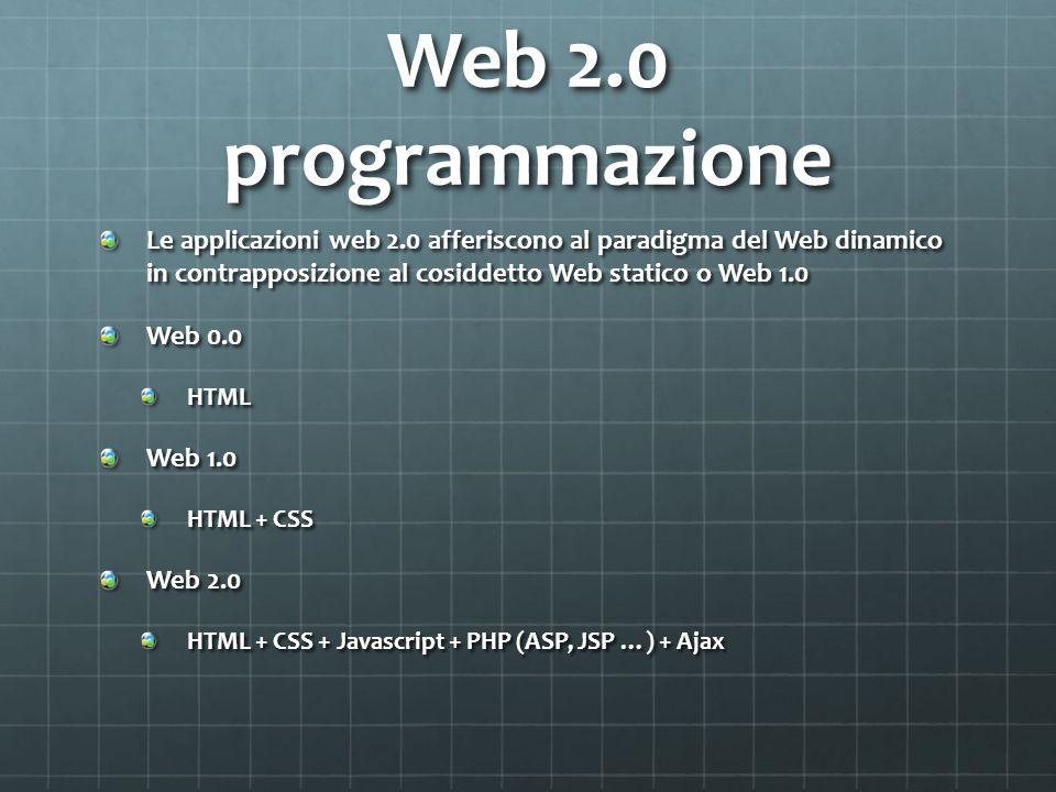 Web 2.0 programmazione Le applicazioni web 2.0 afferiscono al paradigma del Web dinamico in contrapposizione al cosiddetto Web statico o Web 1.0 Web 0