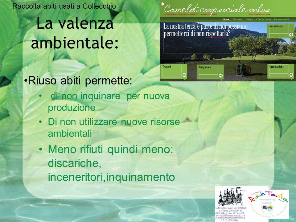 La valenza ambientale: Riuso abiti permette: di non inquinare per nuova produzione Di non utilizzare nuove risorse ambientali Meno rifiuti quindi meno