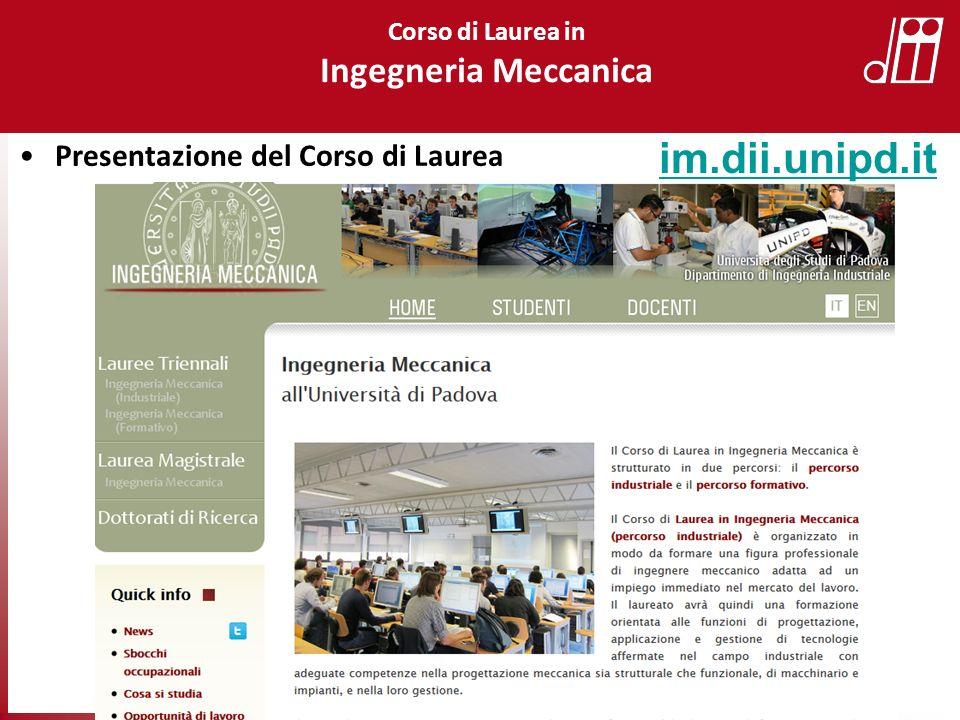Presentazione del Corso di Laurea im.dii.unipd.it Corso di Laurea in Ingegneria Meccanica