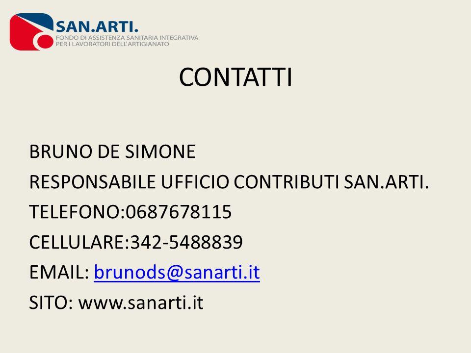 CONTATTI BRUNO DE SIMONE RESPONSABILE UFFICIO CONTRIBUTI SAN.ARTI. TELEFONO:0687678115 CELLULARE:342-5488839 EMAIL: brunods@sanarti.itbrunods@sanarti.