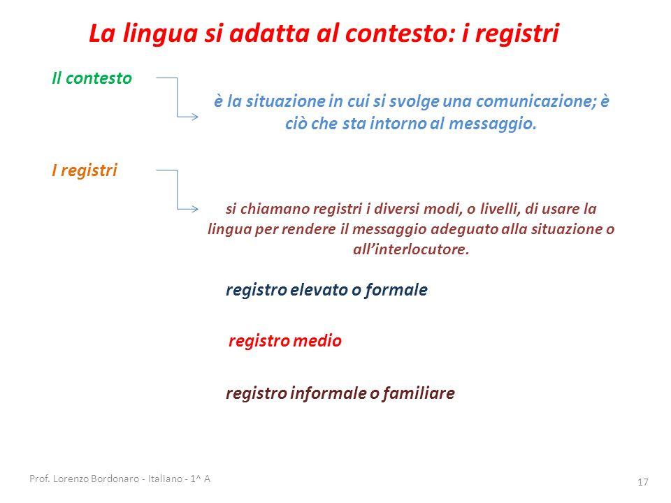 Prof. Lorenzo Bordonaro - Italiano - 1^ A16 Esercitazione