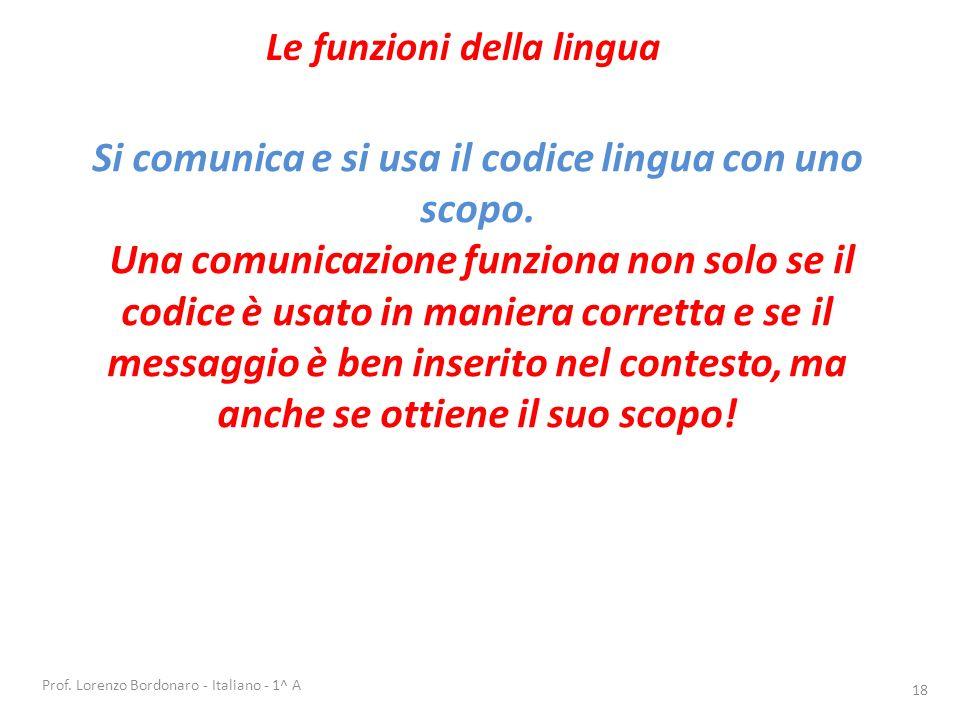 è la situazione in cui si svolge una comunicazione; è ciò che sta intorno al messaggio. Prof. Lorenzo Bordonaro - Italiano - 1^ A 17 La lingua si adat
