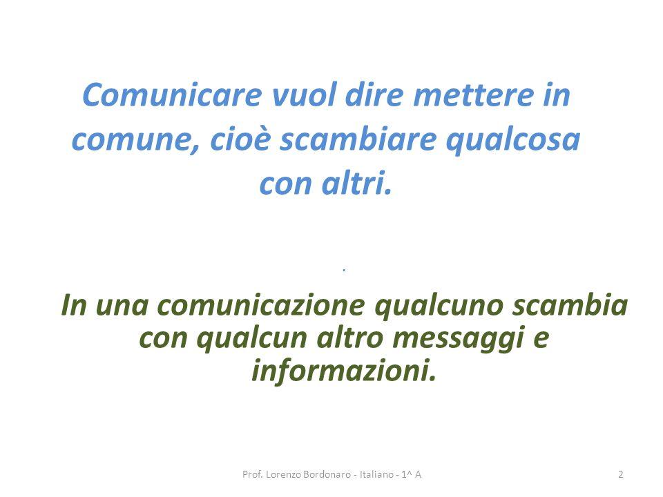 Comunicare vuol dire mettere in comune, cioè scambiare qualcosa con altri.