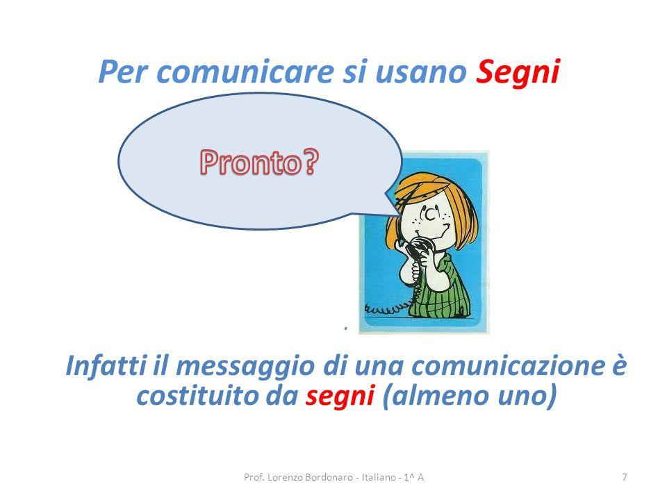 Per comunicare si usano Segni Prof.Lorenzo Bordonaro - Italiano - 1^ A7.