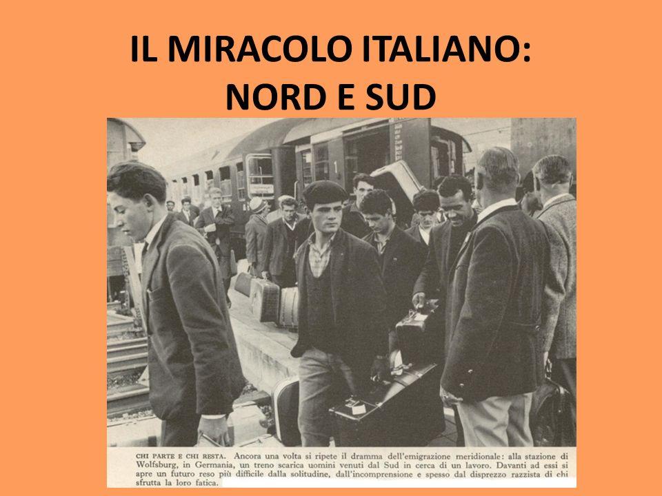 IL MIRACOLO ITALIANO: NORD E SUD TRIANGOLO INDUSTRIALE (TORINO, MILANO E GENOVA) SUD: SVILUPPO FALLITO FORTI MIGRAZIONI INTERNE