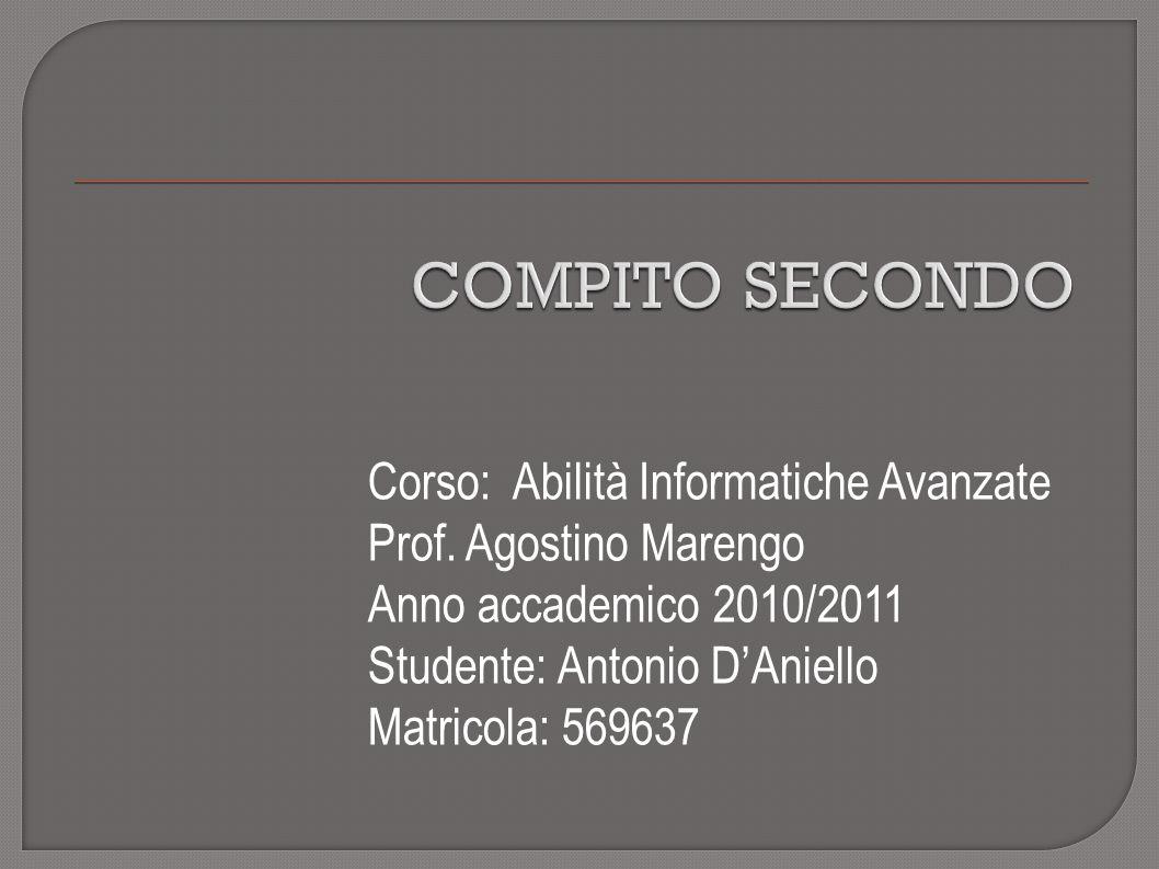 Corso: Abilità Informatiche Avanzate Prof.