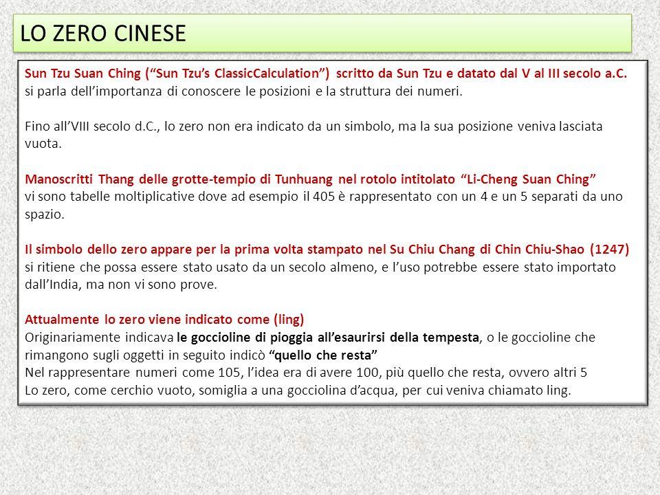 LO ZERO CINESE Sun Tzu Suan Ching (Sun Tzus ClassicCalculation) scritto da Sun Tzu e datato dal V al III secolo a.C. si parla dellimportanza di conosc