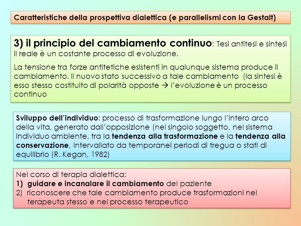 3) il principio del cambiamento continuo : Tesi antitesi e sintesi Il reale è un costante processo di evoluzione. La tensione tra forze antitetiche es