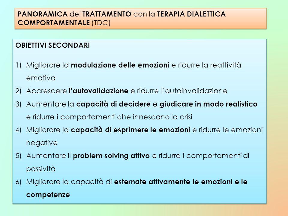 OBIETTIVI SECONDARI 1)Migliorare la modulazione delle emozioni e ridurre la reattività emotiva 2)Accrescere lautovalidazione e ridurre lautoinvalidazi
