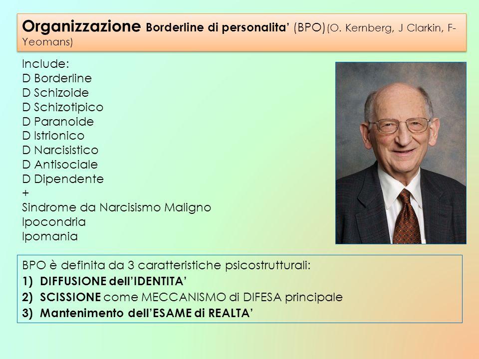 Organizzazione Borderline di personalita (BPO) (O. Kernberg, J Clarkin, F- Yeomans) Include: D Borderline D Schizoide D Schizotipico D Paranoide D Ist