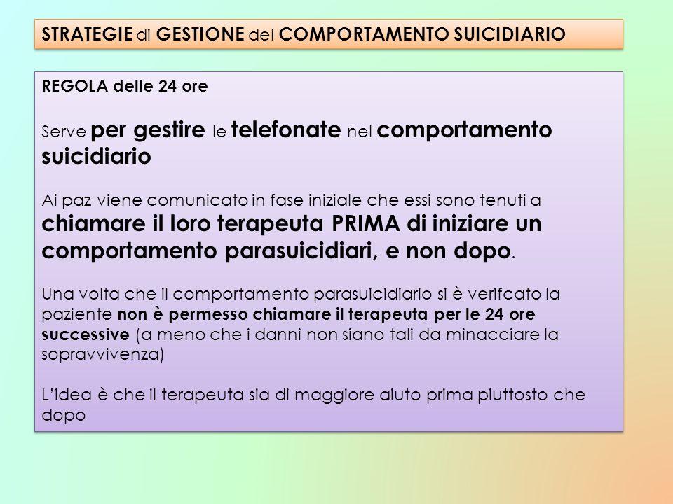 REGOLA delle 24 ore Serve per gestire le telefonate nel comportamento suicidiario Ai paz viene comunicato in fase iniziale che essi sono tenuti a chia
