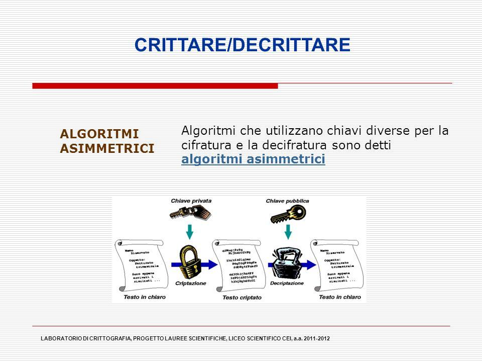 LABORATORIO DI CRITTOGRAFIA, PROGETTO LAUREE SCIENTIFICHE, LICEO SCIENTIFICO CEI, a.a. 2011-2012 CRITTARE/DECRITTARE ALGORITMI ASIMMETRICI Algoritmi c