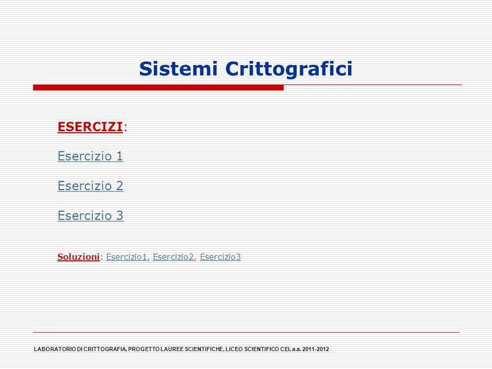 Sistemi Crittografici ESERCIZI: Esercizio 1 Esercizio 2 Esercizio 3 Soluzioni: Esercizio1, Esercizio2, Esercizio3Esercizio1Esercizio2Esercizio3 LABORA