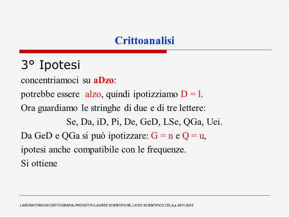 Crittoanalisi 3° Ipotesi concentriamoci su aDzo: potrebbe essere alzo, quindi ipotizziamo D = l. Ora guardiamo le stringhe di due e di tre lettere: Se