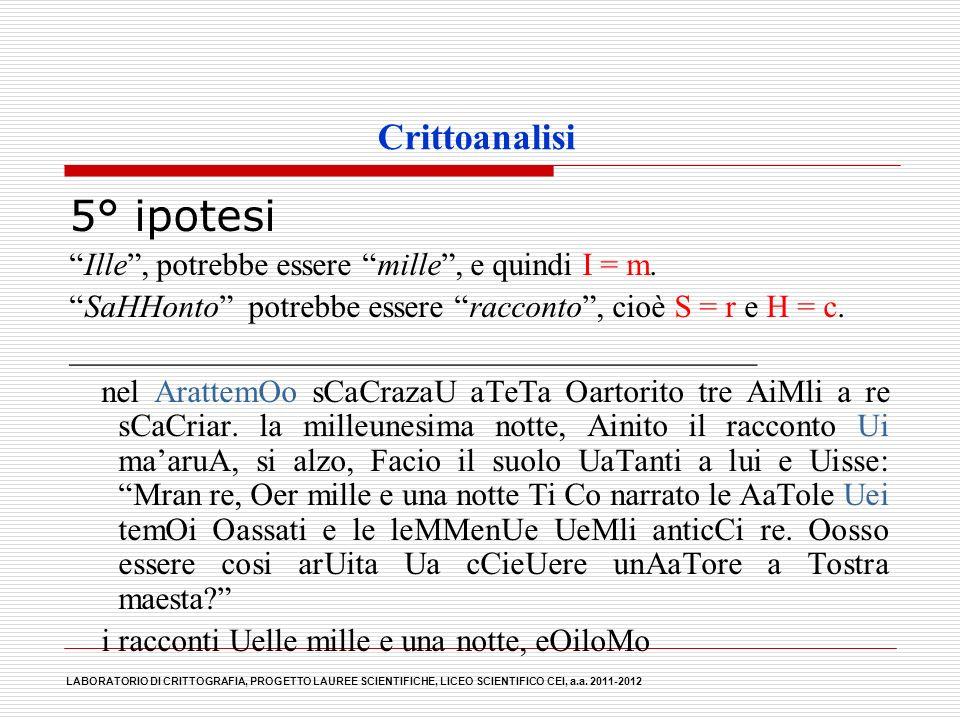 Crittoanalisi 5° ipotesi Ille, potrebbe essere mille, e quindi I = m. SaHHonto potrebbe essere racconto, cioè S = r e H = c. _________________________