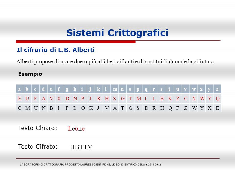 Sistemi Crittografici Alberti propose di usare due o più alfabeti cifranti e di sostituirli durante la cifratura LABORATORIO DI CRITTOGRAFIA, PROGETTO