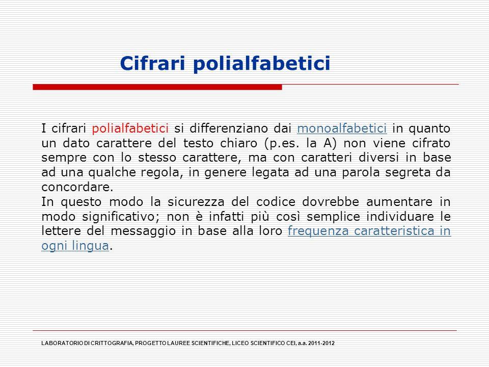 Cifrari polialfabetici LABORATORIO DI CRITTOGRAFIA, PROGETTO LAUREE SCIENTIFICHE, LICEO SCIENTIFICO CEI, a.a. 2011-2012 I cifrari polialfabetici si di