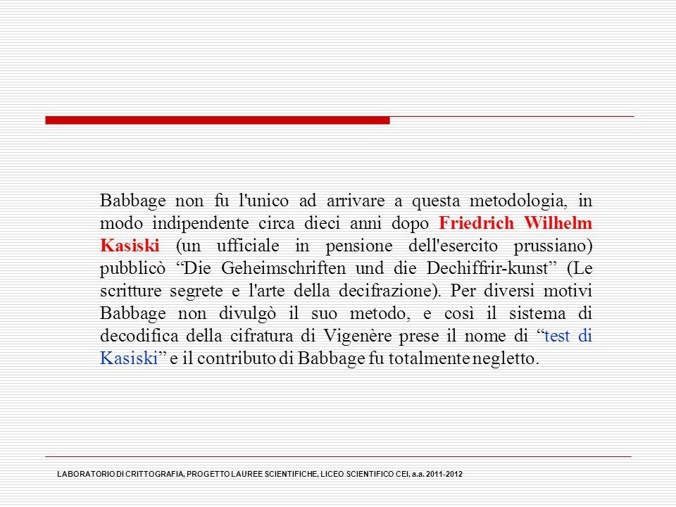 Babbage non fu l'unico ad arrivare a questa metodologia, in modo indipendente circa dieci anni dopo Friedrich Wilhelm Kasiski (un ufficiale in pension