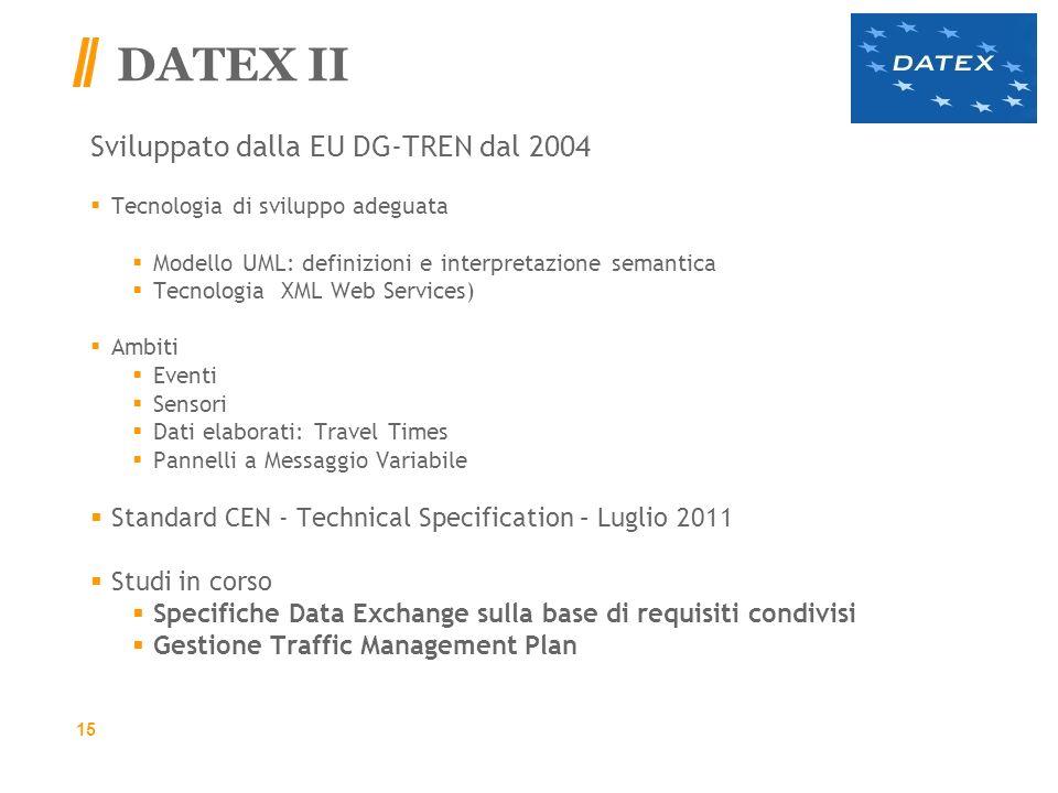 DATEX II Sviluppato dalla EU DG-TREN dal 2004 Tecnologia di sviluppo adeguata Modello UML: definizioni e interpretazione semantica Tecnologia XML Web Services) Ambiti Eventi Sensori Dati elaborati: Travel Times Pannelli a Messaggio Variabile Standard CEN - Technical Specification – Luglio 2011 Studi in corso Specifiche Data Exchange sulla base di requisiti condivisi Gestione Traffic Management Plan 15