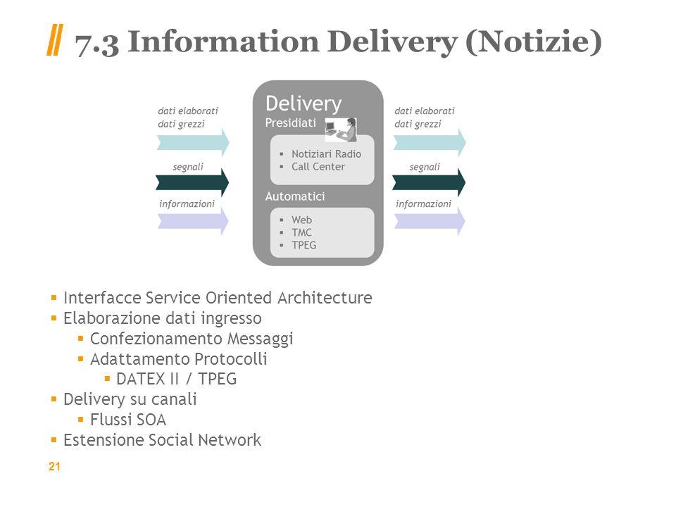 7.3 Information Delivery (Notizie) Interfacce Service Oriented Architecture Elaborazione dati ingresso Confezionamento Messaggi Adattamento Protocolli DATEX II / TPEG Delivery su canali Flussi SOA Estensione Social Network 21