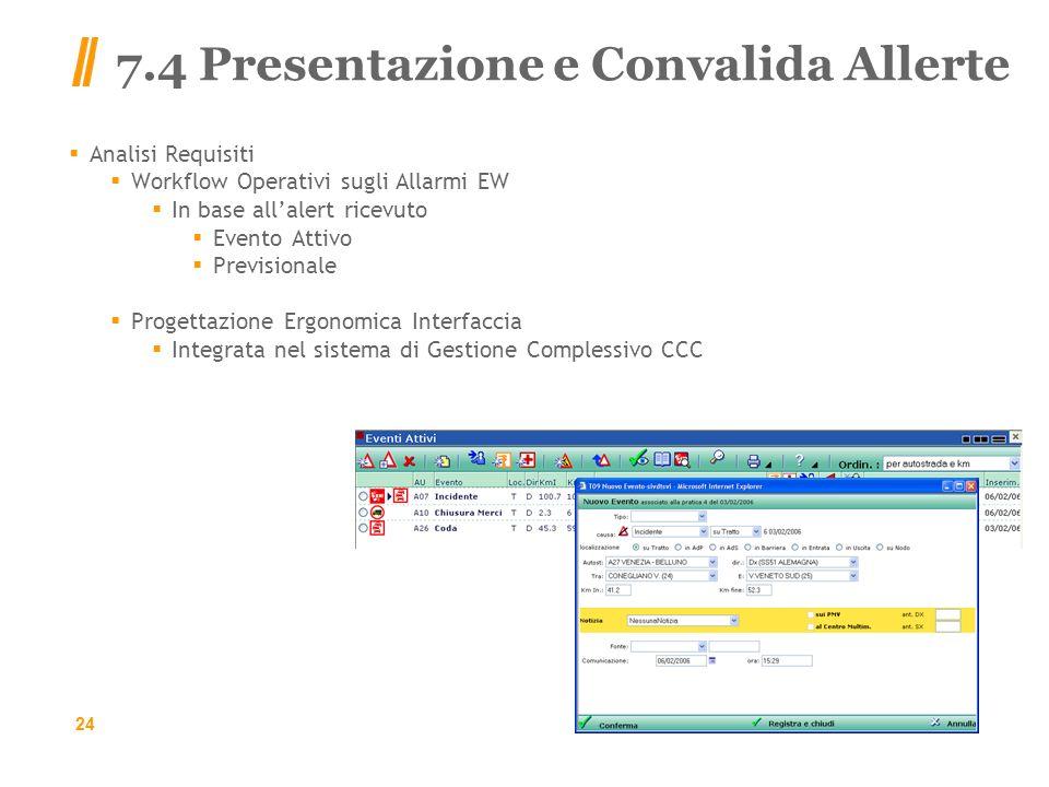 7.4 Presentazione e Convalida Allerte Analisi Requisiti Workflow Operativi sugli Allarmi EW In base allalert ricevuto Evento Attivo Previsionale Progettazione Ergonomica Interfaccia Integrata nel sistema di Gestione Complessivo CCC 24