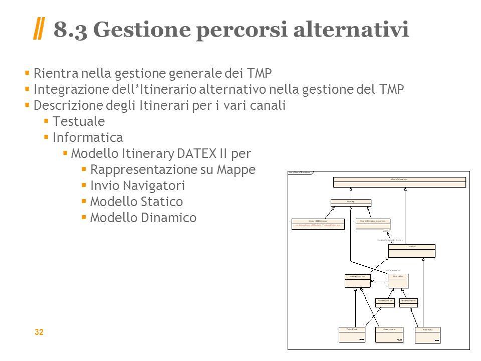 8.3 Gestione percorsi alternativi Rientra nella gestione generale dei TMP Integrazione dellItinerario alternativo nella gestione del TMP Descrizione degli Itinerari per i vari canali Testuale Informatica Modello Itinerary DATEX II per Rappresentazione su Mappe Invio Navigatori Modello Statico Modello Dinamico 32