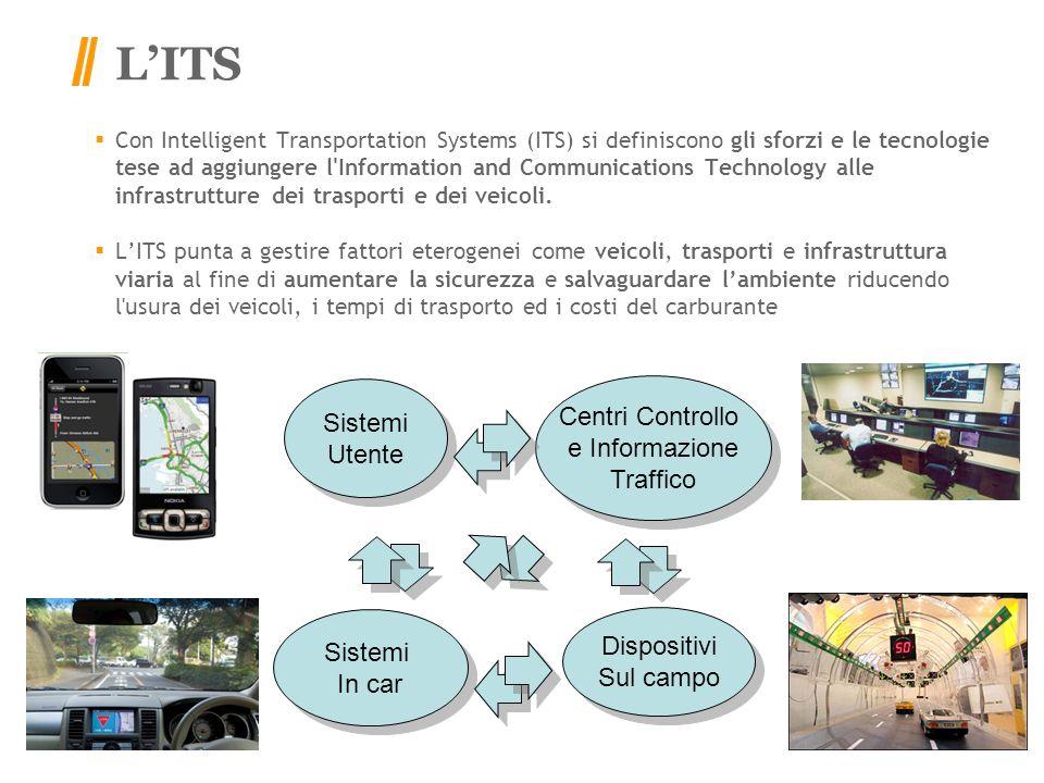 LITS Con Intelligent Transportation Systems (ITS) si definiscono gli sforzi e le tecnologie tese ad aggiungere l Information and Communications Technology alle infrastrutture dei trasporti e dei veicoli.