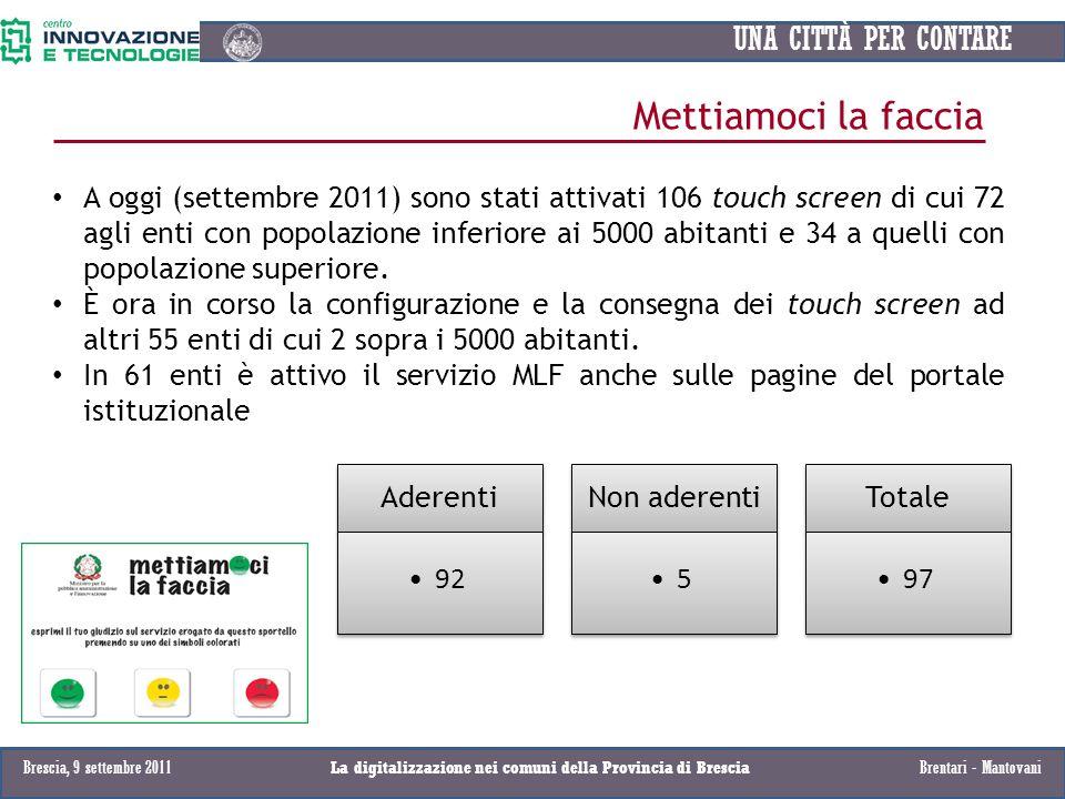 UNA CITTÀ PER CONTARE Mettiamoci la faccia Aderenti 92 Non aderenti 5 Totale 97 A oggi (settembre 2011) sono stati attivati 106 touch screen di cui 72