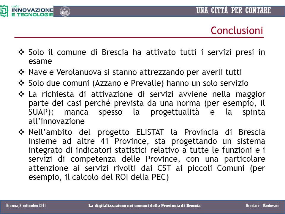 UNA CITTÀ PER CONTARE Conclusioni Solo il comune di Brescia ha attivato tutti i servizi presi in esame Nave e Verolanuova si stanno attrezzando per av