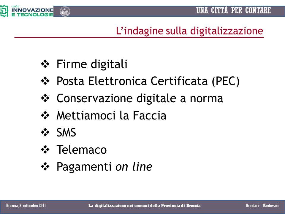 UNA CITTÀ PER CONTARE Firme digitali Posta Elettronica Certificata (PEC) Conservazione digitale a norma Mettiamoci la Faccia SMS Telemaco Pagamenti on