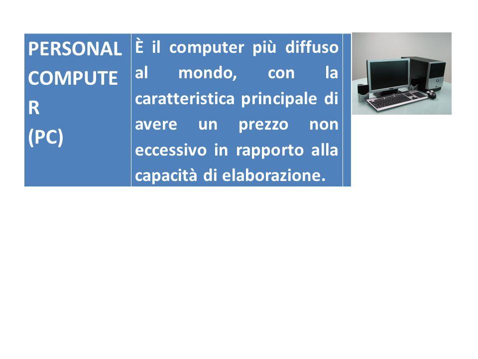 PERSONAL COMPUTE R (PC) È il computer più diffuso al mondo, con la caratteristica principale di avere un prezzo non eccessivo in rapporto alla capacit
