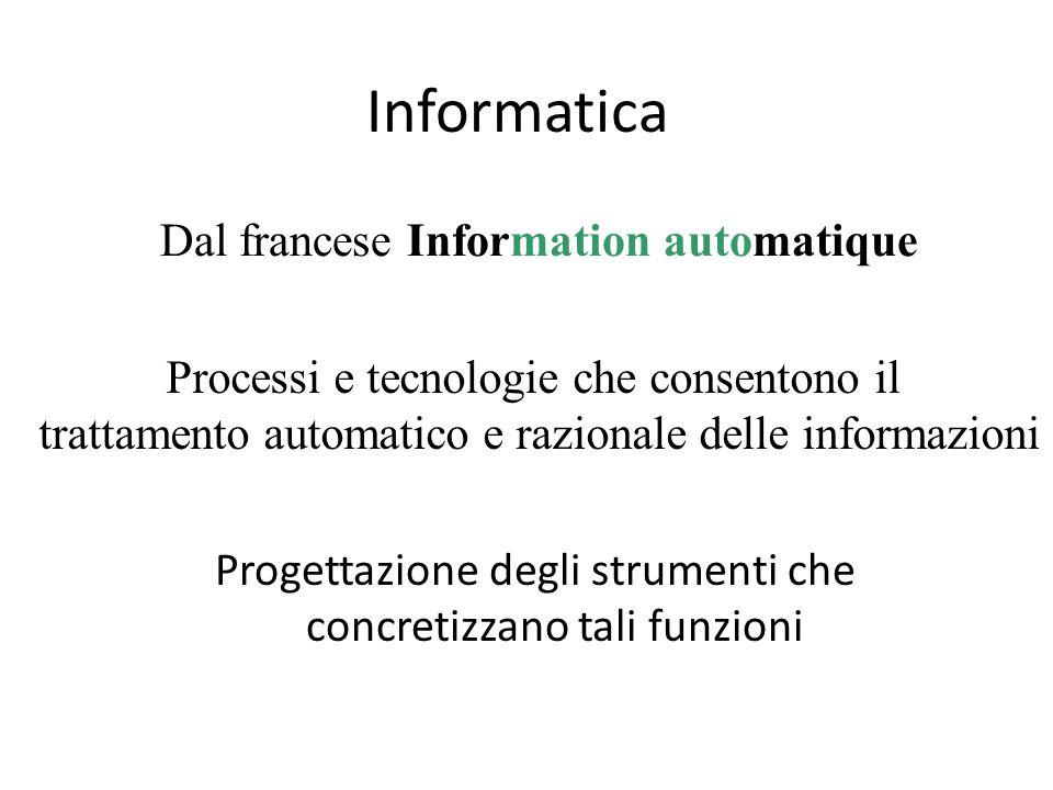 Informatica Progettazione degli strumenti che concretizzano tali funzioni Dal francese Information automatique Processi e tecnologie che consentono il