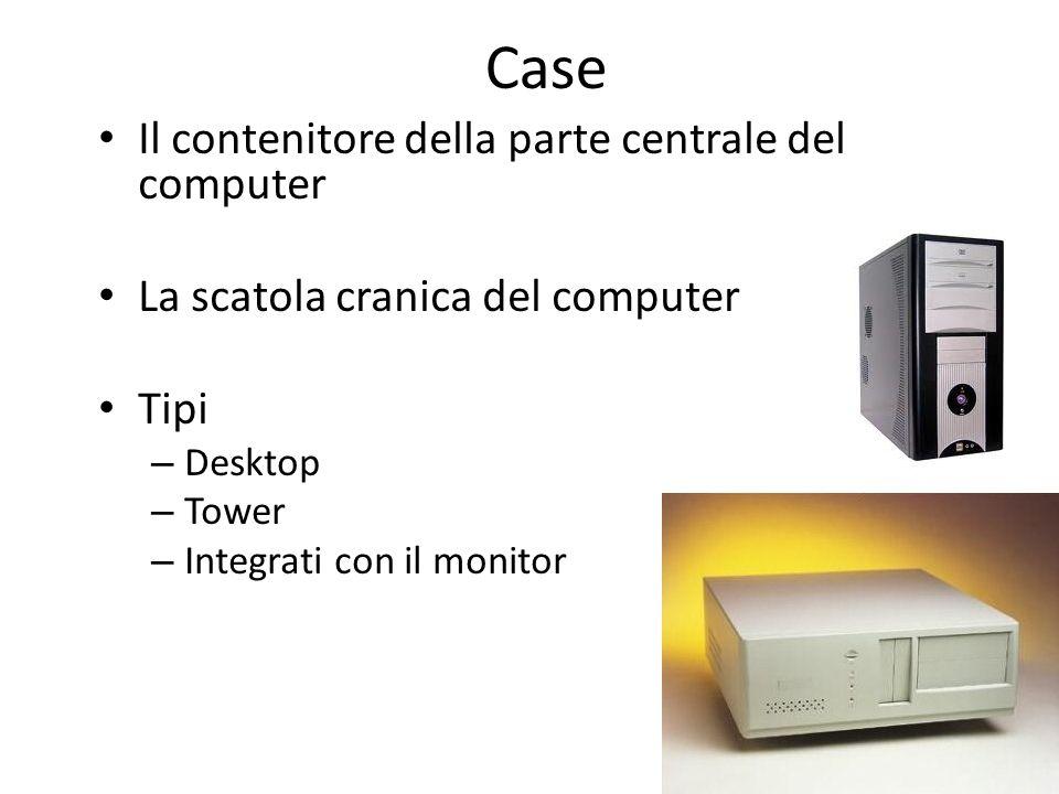 Case Il contenitore della parte centrale del computer La scatola cranica del computer Tipi – Desktop – Tower – Integrati con il monitor
