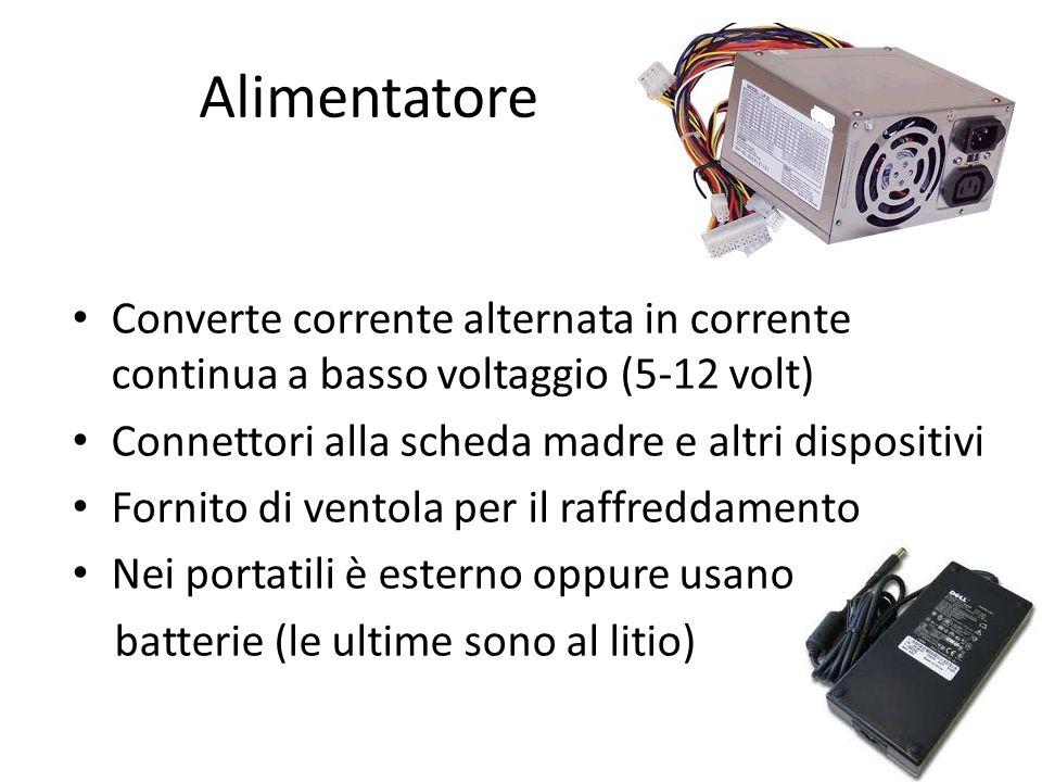 Alimentatore Converte corrente alternata in corrente continua a basso voltaggio (5-12 volt) Connettori alla scheda madre e altri dispositivi Fornito d
