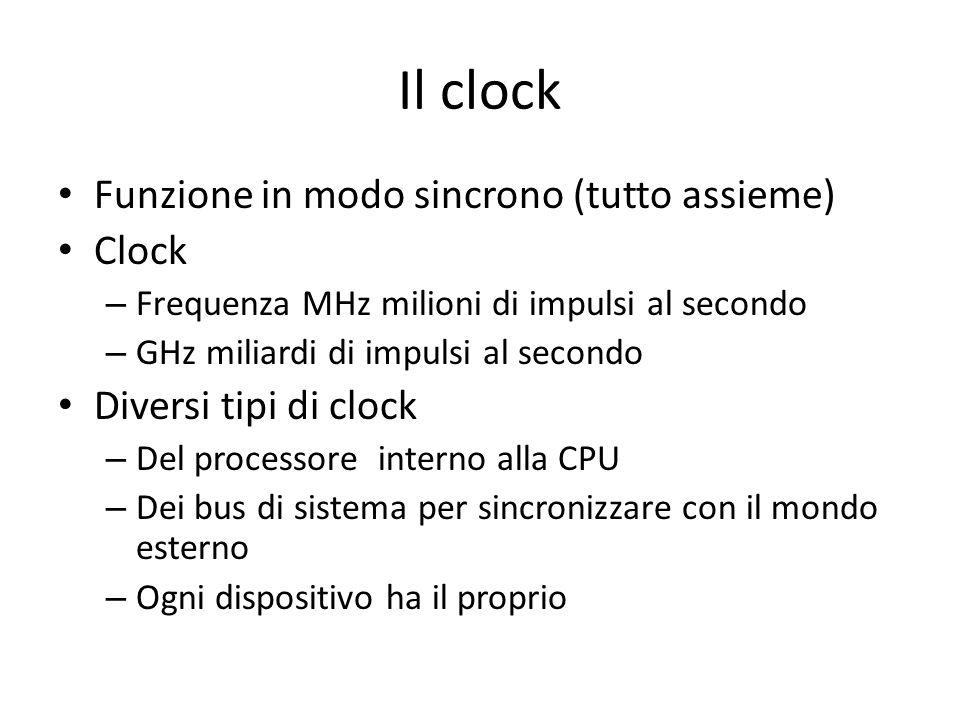 Il clock Funzione in modo sincrono (tutto assieme) Clock – Frequenza MHz milioni di impulsi al secondo – GHz miliardi di impulsi al secondo Diversi ti