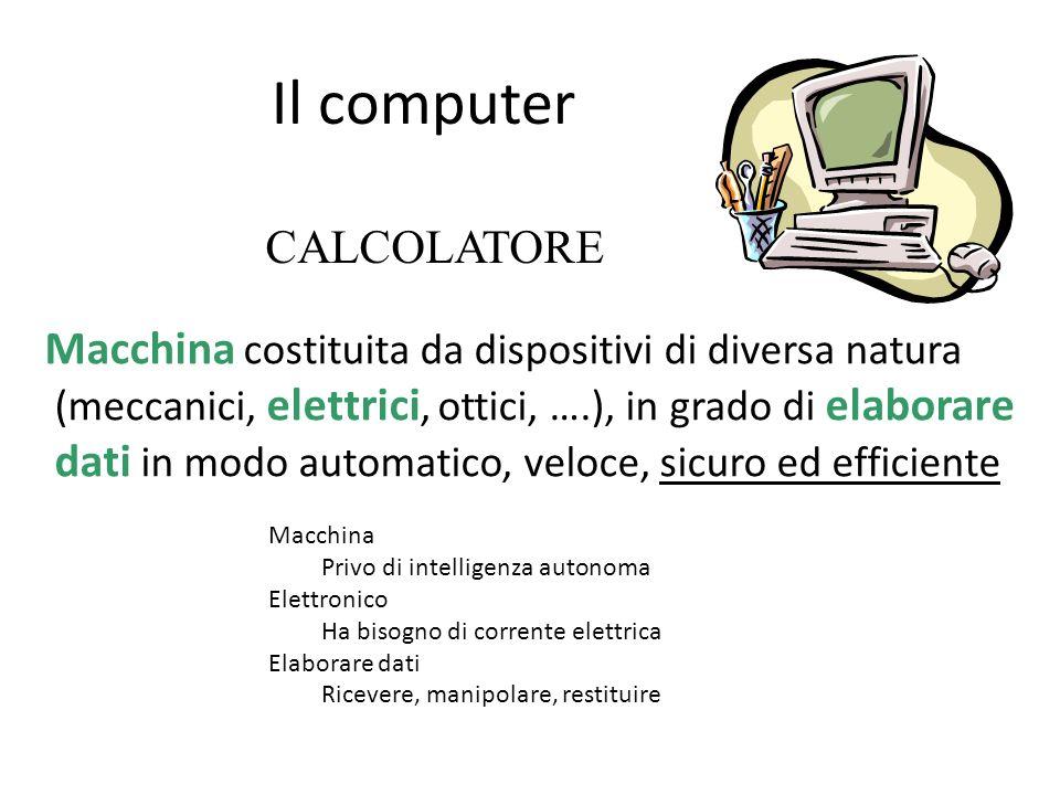 Il computer Macchina costituita da dispositivi di diversa natura (meccanici, elettrici, ottici, ….), in grado di elaborare dati in modo automatico, ve