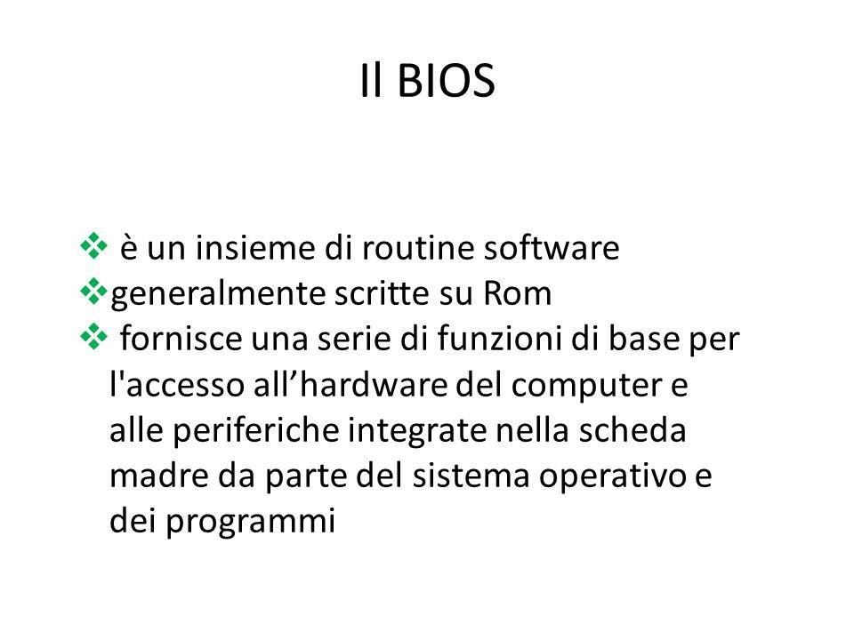 Il BIOS è un insieme di routine software generalmente scritte su Rom fornisce una serie di funzioni di base per l'accesso allhardware del computer e a