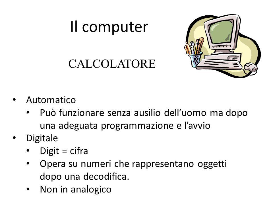 Il computer CALCOLATORE Automatico Può funzionare senza ausilio delluomo ma dopo una adeguata programmazione e lavvio Digitale Digit = cifra Opera su