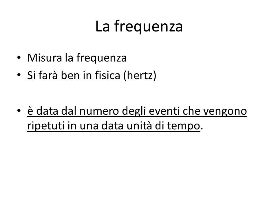 La frequenza Misura la frequenza Si farà ben in fisica (hertz) è data dal numero degli eventi che vengono ripetuti in una data unità di tempo.