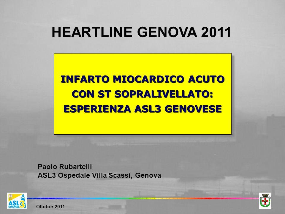 Ottobre 2011 INFARTO MIOCARDICO ACUTO CON ST SOPRALIVELLATO: ESPERIENZA ASL3 GENOVESE Paolo Rubartelli ASL3 Ospedale Villa Scassi, Genova HEARTLINE GE