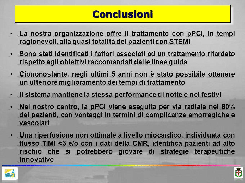 ConclusioniConclusioni La nostra organizzazione offre il trattamento con pPCI, in tempi ragionevoli, alla quasi totalità dei pazienti con STEMILa nost