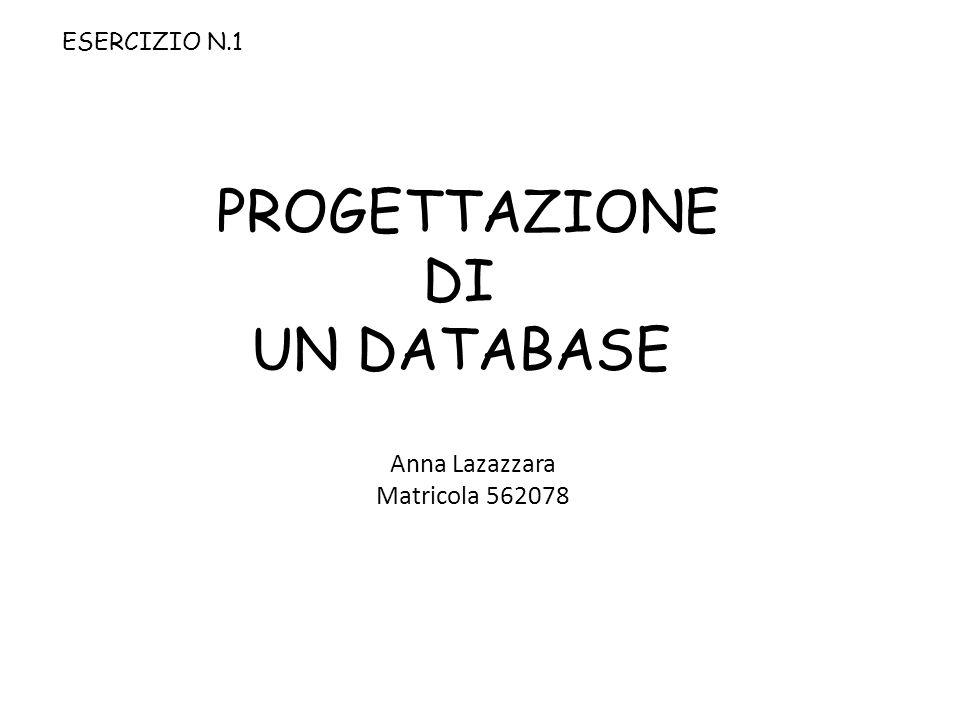 PROGETTAZIONE DI UN DATABASE Anna Lazazzara Matricola 562078 ESERCIZIO N.1